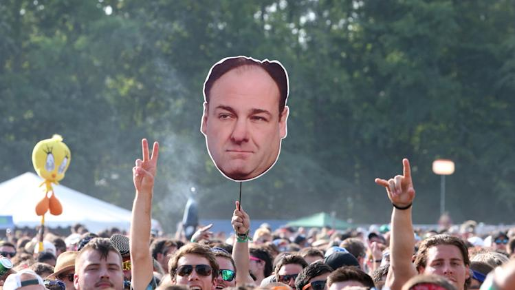 Concert goers display a photo of actor James Gandolfini during Day 2 of the Firefly Music Festival at The Woodlands on Saturday, June 22, 2013 in Dover, Del. (Photo by Owen Sweeney/Invision/AP)