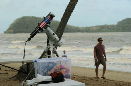 Equipment is made ready to be used for a direct feed of the total solar eclipse