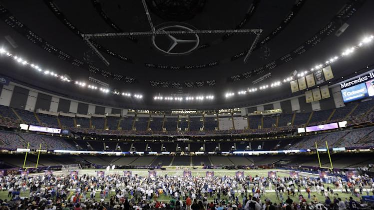 Baltimore Ravens players participate in media day for the NFL Super Bowl XLVII football game Tuesday, Jan. 29, 2013, in New Orleans. (AP Photo/Gerald Herbert)