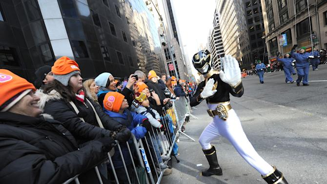 Saban's Power Rangers Megaforce celebrate the franchise's 20th anniversary while powering up the Macy's Thanksgiving Day Parade, Thursday, Nov. 22, 2012, in New York.  (Photo by Diane Bondareff/Invision for Saban Brands/AP Images)