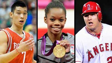 Jeremy Lin, Gabby Douglas and Mike Trout