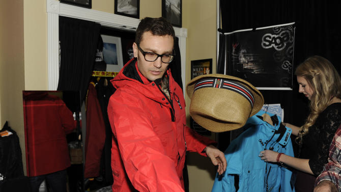 Musician Erick Macek wears Saga Outerwear at the Fender Music lodge during the Sundance Film Festival on Monday, Jan. 21, 2013, in Park City, Utah. (Photo by Jack Dempsey/Invision for Fender/AP Images)