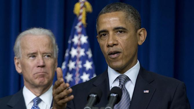 FILE - This Jan. 16, 2013 file photo shows President Barack Obama, accompanied by Vice President Joe Biden, gesturing as he talks about proposals to reduce gun violence, in the South Court Auditorium at the White House in Washington.  Supporters of President Barack Obama's gun control plans are plotting a methodical, state-by-state campaign to try to persuade key lawmakers that it's in their political interest to back new restrictions. To do that, they have to overcome two decades of conventional wisdom that gun control is bad politics _ and the National Rifle Association is confident its supporters will prevail.  (AP Photo/Carolyn Kaster, File)