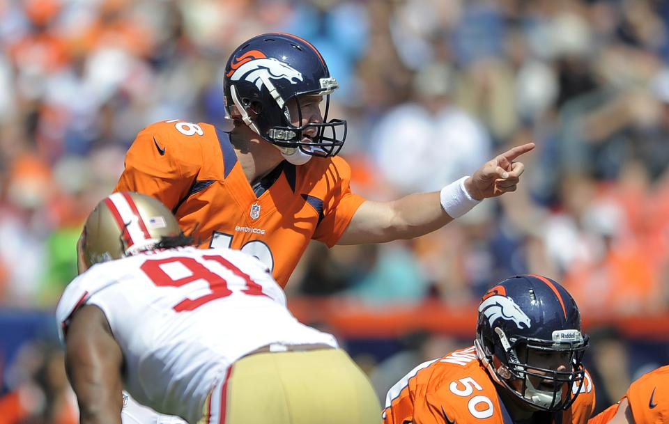 Denver Broncos quarterback Peyton Manning (18) calls a play at the line of scrimmage during the first quarter of an NFL preseason football game against the San Francisco 49ers in Denver, Sunday, Aug. 26, 2012. (AP Photo/Jack Dempsey)
