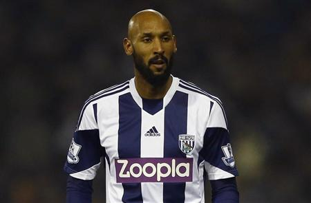 West Bromwich Albion's Nicolas Anelka looks on during their English Premier League soccer match against Everton at The Hawthorns in West Bromwich