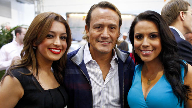 """Antonietta Collins, anchor, Univision Deportes Extra, former member of the Mexican National Team and the Los Angeles Galaxy Luis """"El Matador"""" Hernandez, and Lindsay Casinelli, correspondent, Univision Deportes Extra, are seen at the Univision Deportes Network Launch Party on Thursday April 19, 2012 in New York.  (Brian Ach/AP Images for Univision)"""