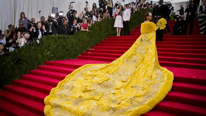 """Singer Rihanna arrives at the Metropolitan Museum of Art Costume Institute Gala 2015 celebrating the opening of """"China: Through the Looking Glass"""" in Manhattan, New York"""