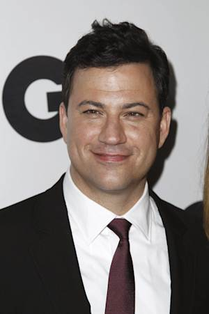 """FILE - In this Nov. 17, 2011 file photo, Jimmy Kimmel arrives at the 16th annual GQ """"Men of the Year"""" party in Los Angeles. On the eve of the 64th Primetime Emmy Awards nominations announcement, Nick Offerman is out and Jimmy Kimmel is in. Kimmel, who will host the Emmys on ABC, will step in for him, the academy said Wednesday evening, July 18, 2012. (AP Photo/Matt Sayles, File)"""
