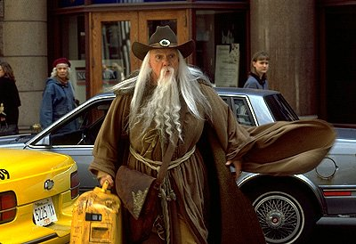 Malcolm McDowell as the wizard in Hollywood Pictures' Just Visiting