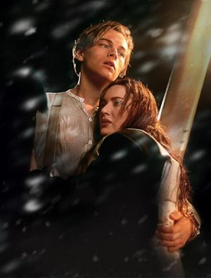 """In this film image released by Paramount Pictures, Leonardo DiCaprio, left, and Kate Winslet are shown in a scene from the 3-D version of James Cameron's romantic epic """"Titanic."""" (AP Photo/Paramount Pictures, Rick Lynch)"""