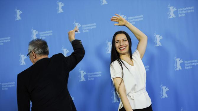 Author and director Berrached and festival director Kosslick joke during a photocall to promote the movie 24 Wochen at the Berlinale International Film Festival in Berlin