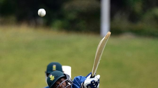 Aaron Phangiso of South Africa plays a shot during a training session ahead of the 2015 Cricket World Cup Pool B match against UAE in Wellington on March 11, 2015
