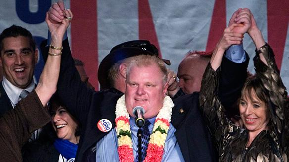 Mayor Rob Ford, seen at his election victory party on Oct. 25, will preside over a council that will have 14 new members.