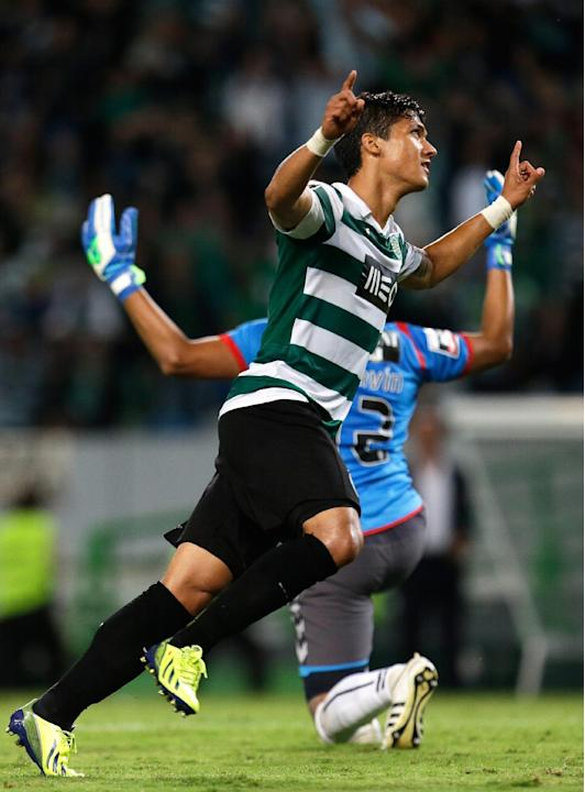 Sporting's Montero, from Colombia,  celebrates after scoring the opening goal against Setubal  during their Portuguese league soccer match Saturday, Oct. 5 2013, at Sporting's Alvalade stadium in Lisb