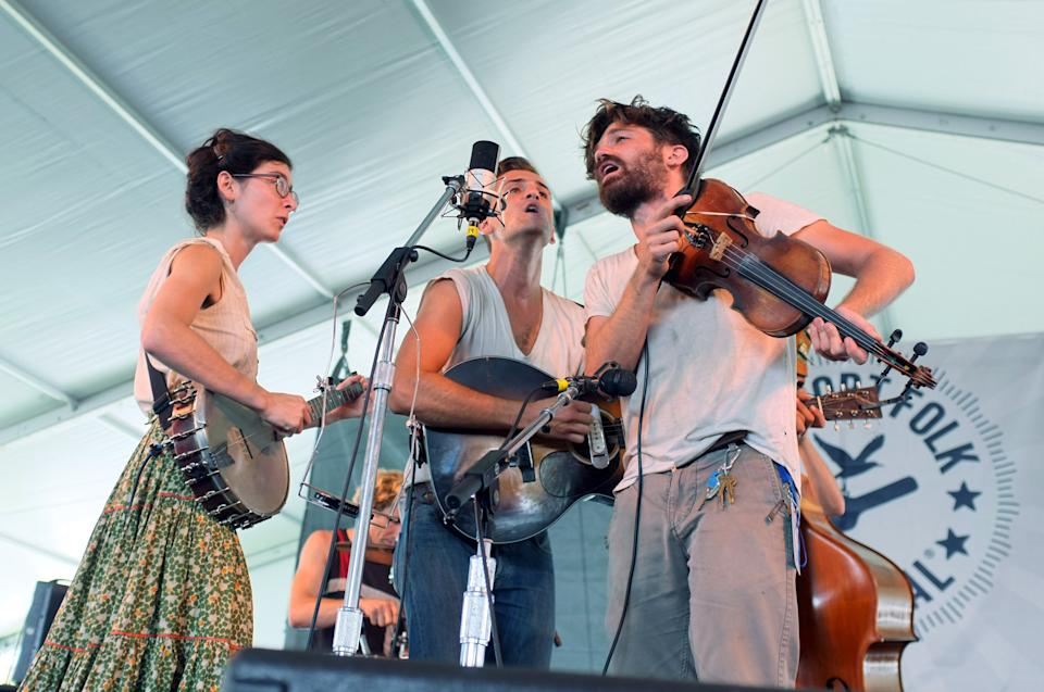 Spirit Family Reunion performs at the 54th edition of the Newport Folk Festival in Newport, R.I., on Sunday, July 28, 2013. (AP Photo/Joe Giblin)