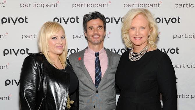 Columnist Meghan McCain, left, Pivot network president Evan Shapiro and Cindy McCain, wife of Sen. John McCain, attend Participant Media's Pivot cable network launch event at the Museum of Arts & Design on Wednesday March 27, 2013 in New York. (Photo by Evan Agostini/Invision/AP)