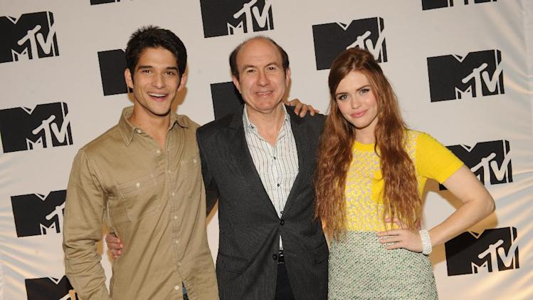 "Tyler Posey from ""Teen Wolf"", Philippe Dauman President and CEO Viacom, Holland Roden from ""Teen Wolf"" arriving at the 2013 MTV Upfront, on Thursday, April 25, 2013 at the Beacon Theater in New York. (Photo by Scott Gries/Invision/AP Images)"
