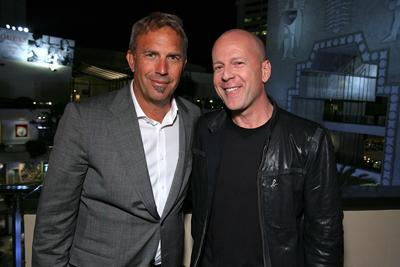 Kevin Costner and Bruce Willis at the Hollywood premiere of MGMs' Mr. Brooks