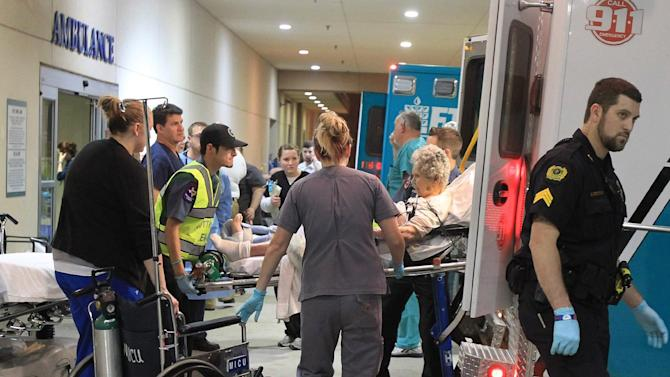 A victim from the West fertilizer plant explosion is wheeled into Hillcrest Baptist Medical Hospital in Waco, Texas, Wednesday, April 17, 2013. (AP Photo/Waco Tribune Herald, Jerry Larson)
