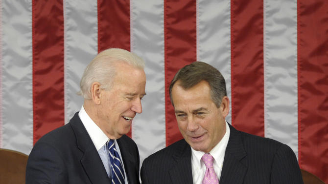Vice President Joe Biden shakes hands with House Speaker John Boehner of Ohio in the House Chamber before the counting of Electoral College votes on Capitol Hill in Washington, Friday, Jan. 4, 2013. Biden presided over a Joint Session of Congress Friday as four members of the House and Senate took turns announcing the votes that had been tallied in state capitals last month affirming the re-election of Barack Obama as President of the United States. (AP Photo/Susan Walsh)