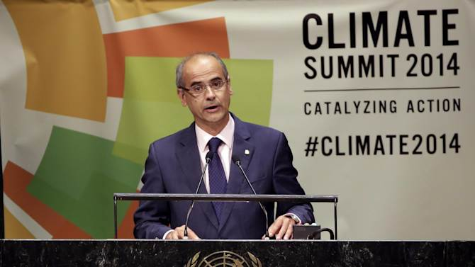 Antoni Marti Petit, head of the government of Andorra, addresses the Climate Summit, at United Nations headquarters, Tuesday, Sept. 23, 2014. (AP Photo/Richard Drew)