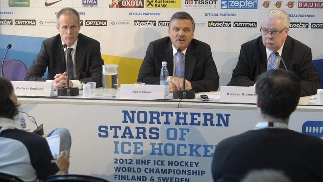 Christer Englund (L), Chairman Of The Swedish Organizing Committee, International Ice Hockey Federation (IIHF) AFP/Getty Images