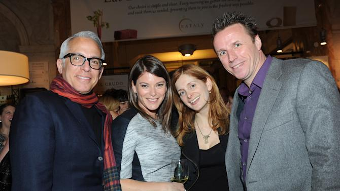 IMAGE DISTRIBUTED FOR FOOD & WINE - Chefs Geoffrey Zakarian, left, and Marc Murphy, right, FOOD & WINE's Gail Simmons, second left, and author Melissa Clark, attend a party to celebrate Mario Batali's guest-edited April issue of FOOD & WINE, at Eataly in New York, Wednesday, March 6, 2013.  (Photo by Diane Bondareff/Invision for FOOD & WINE/AP Images)