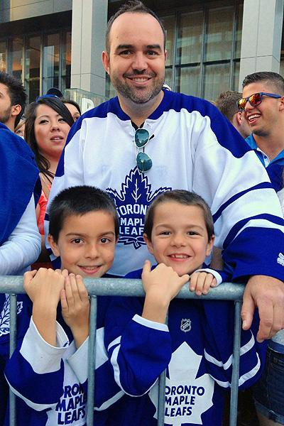 Toronto Maple Leafs fans John Schienke with sons Matthew and Nicholas