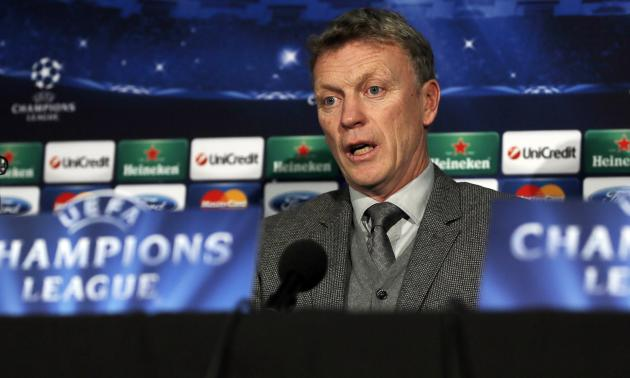 Manchester United's manager Moyes answers a question during a news conference at Old Trafford in Manchester