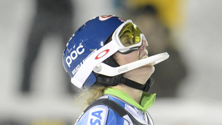 Mikaela Shiffrin, of the United States, reacts after winning an alpine ski, women's World Cup slalom, in Are, Sweden, Thursday, Dec. 20, 2012.  (AP Photo/Giovanni Auletta)