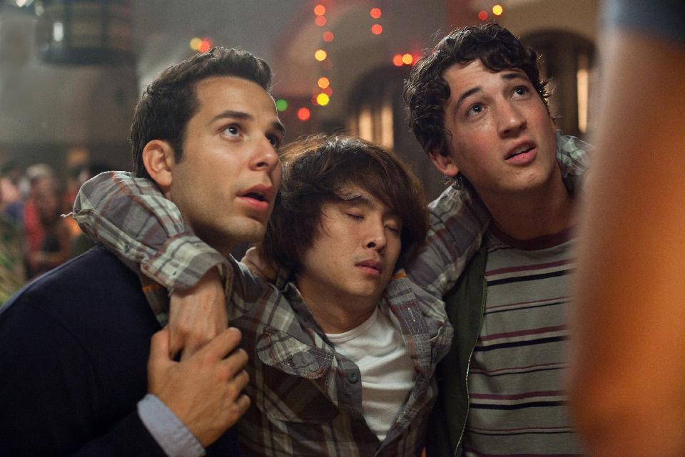 "This film image released by Relativity Media shows, from left, Skylar Astin, Justin Chon and Miles Teller in a scene from ""21 & Over"".  (AP Photo/Relativity Media, John Johnson)"