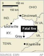 Map locates Gray, Kentucky, site of a fatal fire