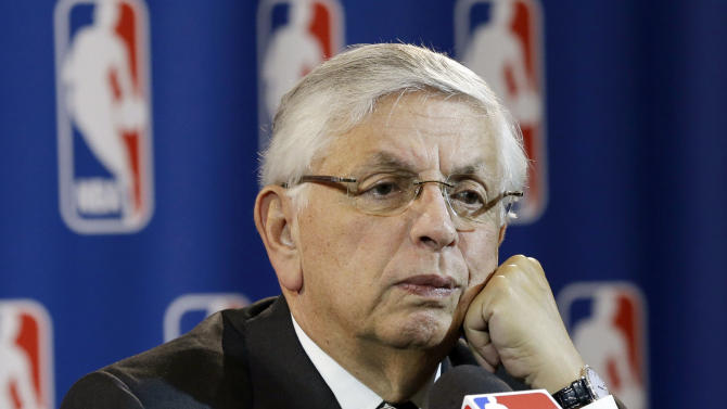 NBA commissioner David Stern takes a question from a reporter during a news conference following the Board of Governors meeting Wednesday, May 15, 2013, in Dallas. NBA owners voted Wednesday to reject the Kings' proposed move to Seattle, the latest in a long line of cities that have tried to land the franchise.   (AP Photo/Tony Gutierrez)