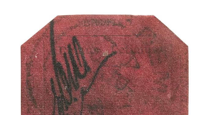 In this undated photo provided by Sotheby's Auction House, the one-cent 1856 British Guiana stamp is shown. Already having set three price records for the sale of a single stamp, the stamp is poised to set a fourth when it is offered at auction by Sotheby's on June 17, 2104. (AP Photo/Sotheby's Auction House)