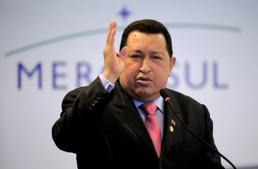 <p>Venezuelan President Hugo Chavez delivers a speech during a press conference after the Mercosur summit. After a six-year wait, Venezuela was welcomed Tuesday as a full member, turning the regional trading bloc into the world's fifth largest economy as well as a food and energy giant.</p>