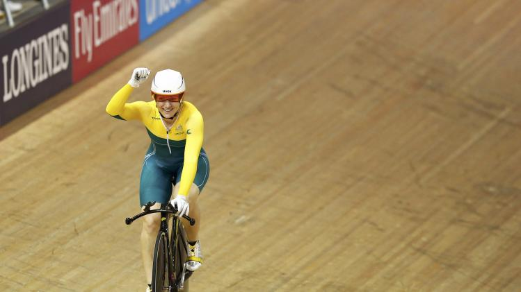 Australia's Anna Meares celebrates after winning the women's 500m time trial at the 2014 Commonwealth Games in Glasgow