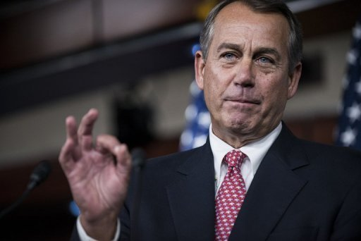 &lt;p&gt;Speaker of the House John Boehner (R-OH) speaks during a press briefing on Capitol Hill December 13, 2012. He went to the White House for talks with President Barack Obama on the so-called fiscal cliff.&lt;/p&gt;