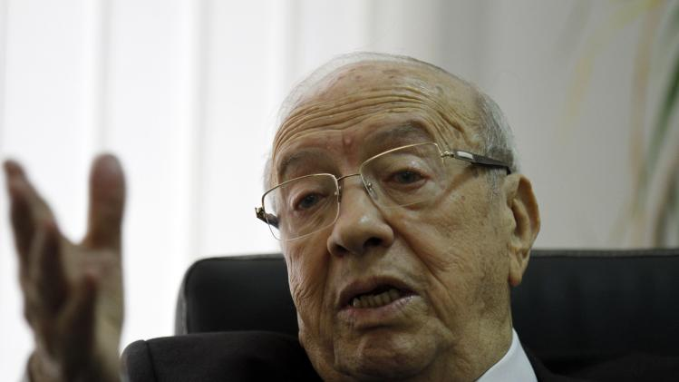 Beji Caid Essebsi, leader of the Nida Touns (Call of Tunisia) secular party, speaks during an interview in Tunis