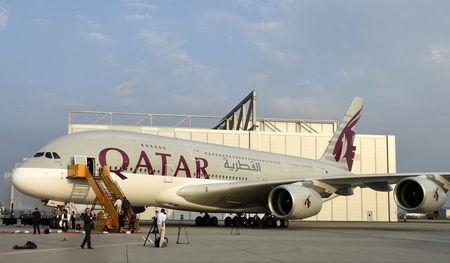 An Airbus A380 is pictured during the delivery ceremony for Qatar Airways first 10 Airbus A380s at Airbus headquarters in Hamburg-Finkenwerder