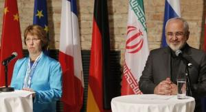 EU foreign policy chief Ashton and Iranian Foreign Minister Mohammad Zarif attend a news conference in Vienna