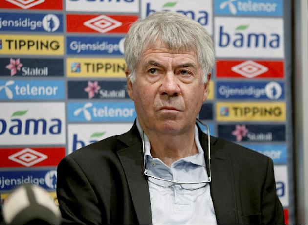 Outgoing head coach for Norway's national football team  Egil Olsen attends a press conference in Oslo, Friday, Sept. 27th, 2013. Sweden's Per-Mathias Hogmo has been tapped as Norway's new coach, imme