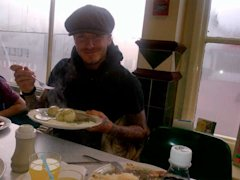 David Beckham eats pie and mash