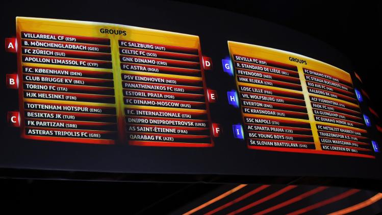 A view of the screens shows the draw for the 2014/2015 UEFA Europa League soccer competition at Monaco's Grimaldi Forum in Monte Carlo