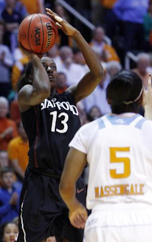Stanford forward Chiney Ogwumike (13) shoots over Tennessee guard Ariel Massengale (5) in the first half of an NCAA college basketball game on Saturday, Dec. 22, 2012, in Knoxville, Tenn. (AP Photo/Wade Payne)