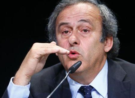 UEFA President Platini addresses a news conference after a UEFA meeting in Zurich