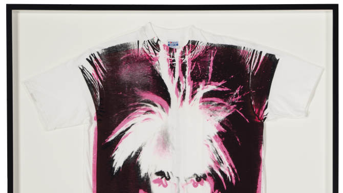 "CAPTION ADDITION, ADDS COPYRIGHT INFO - This undated photo provided by Christies's auction house in New York and The Andy Warhol Foundation for the Visual Arts, Inc. shows Andy Warhol's ""Self-Portrait with Fright Wig screenprint on t-shirt,""  with a pre-auction estimate of $15,000 - $20,000. It is one of about 125 artworks being offered from Feb. 26 through March 5 in Christie's first online-only Warhol sale. The works can be previewed online prior to the sale. Bidders can browse, bid and receive instant updates by email or phone if another bid exceeds theirs. (AP Photo/Copyright The Andy Warhol Foundation for the Visual Arts, Inc.)"