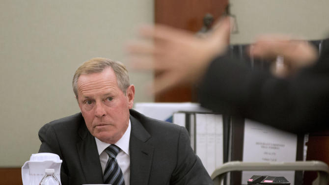 Former Las Vegas Sands Corp. president and COO William Weidner testifies for a second day in a breach of contract case brought by Hong Kong businessman Richard Suen Thursday, April 11, 2013, in Clark County District Court in Las Vegas. Suen says he helped Sands win a gambling license in the Chinese gambling enclave of Macau. (AP Photo/Julie Jacobson)