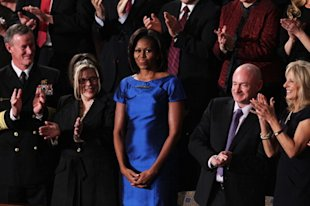Michelle Obama wore a blue Barbara Tfank dress to the State of the Union address.