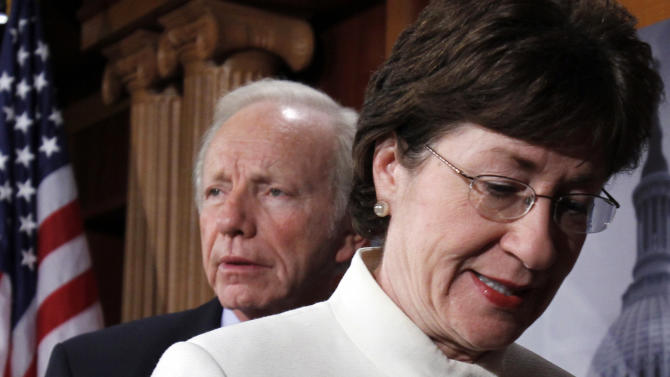 Sen. Joseph Lieberman, I-Conn., and Sen. Susan Collins, R-Maine, at a  news conference following the defeat of a cloture motion of the Defense Authorization Bill containing repeal of the 'Don't Ask, Don't Tell' provision on Capitol Hill in Washington, Thursday, Dec. 9, 2010. (AP Photo/Harry Hamburg)
