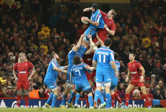 Italy's Marco Bortolami, collects the ball during a line out during their Six Nations international rugby union match between Wales and Italy at the Millennium stadium in Cardiff, Wales, Saturday,